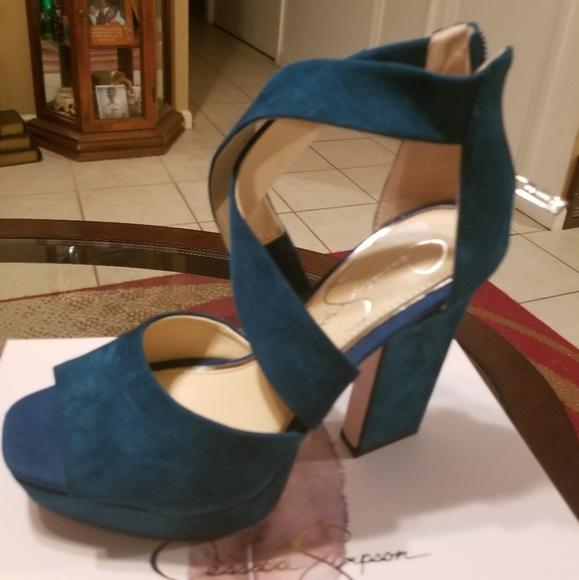 0f8d9c1fc414 Jessica Simpson Shoes | Bn Size 6 Teal Green Unique Heel | Poshmark